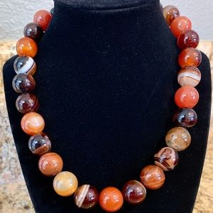 Jewelry - NWT Brown Agate Stone beaded necklace